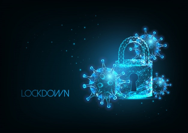 futuristic coronavirus pandemic lockdown with glow ow poly virus cells padlock 67515 894 - futuristic coronavirus pandemic lockdown with glow ow poly virus cells padlock 67515 894